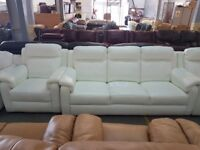 HTL Mendip 3 Seater + Chair in White Leather