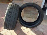 2 x Bridgestone 215/40/R18 85Y RUN FLAT tyres, nearly new