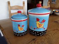 Kitchen storage jars (pair) with Chicken, Sheep & Pig design.