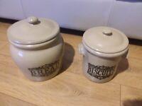 Stone ware bread bin & biscuit jar set