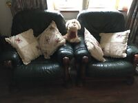 Green Leather 3 seater sofa and 2 matching armchairs. Excellent Condition. Need gone ASAP