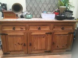 Antique sideboard with tile top