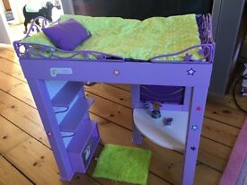 American girl Loft Bed with bedding, chair, rug, cushion and McKenna's Trophies