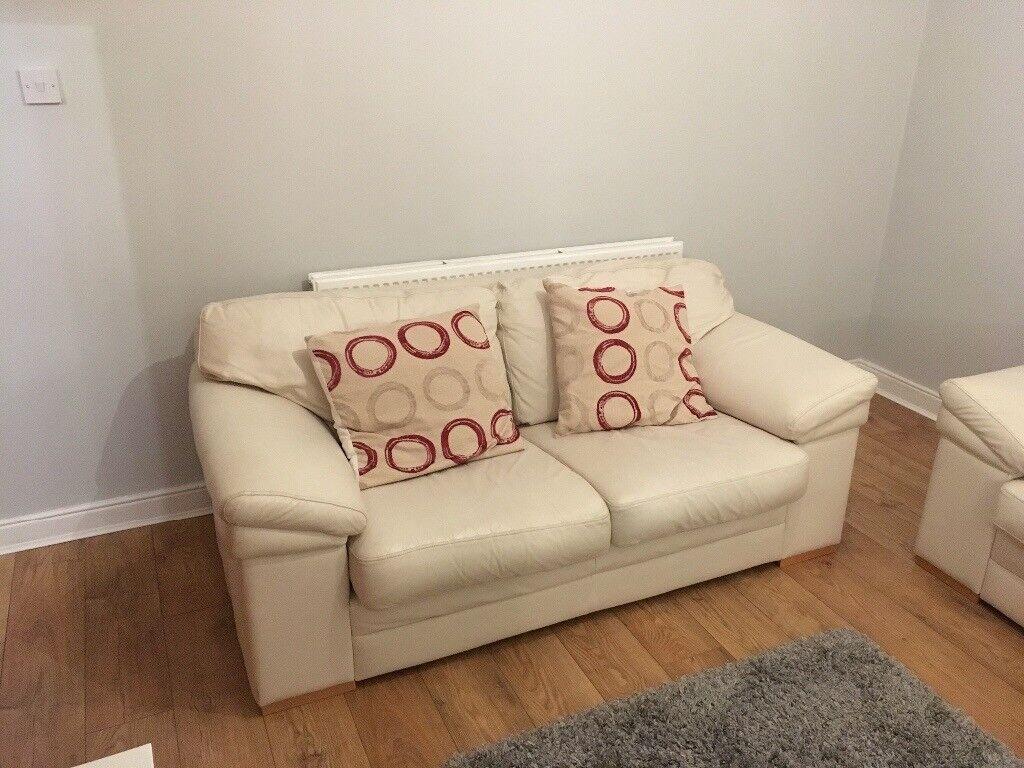 Cream Leather Suite - 3 Seater & 2 Seater