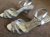 Silver Red Herring Heel Sandals Size 6