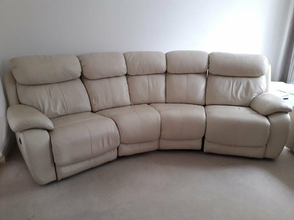 Leather Curved Electric Double Recliner Sofa And One