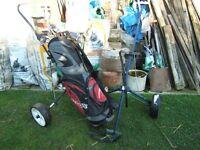 Set of 8 golf clubs, bag, 2 trolleys, approx 2 dozen tees