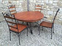 HEAVY IRON & WOOD DINING KITCHEN DRUM TABLE & 4 MATCHING CHAIRS SET SHABBY CHIC £85 ONO