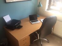 Large Beech Effect Desk - Ideal for Home Office with Lockable Drawers - Excellent Condition