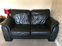 2 Two Seater Black Real Leather Sofa Good Condition - RRP £430