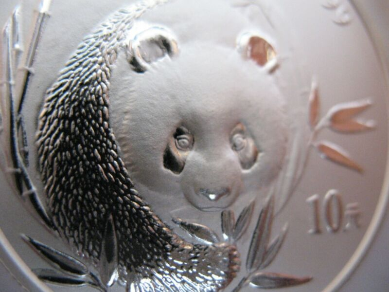1 TROY OZ. PURE.999 SILVER LOW MINTAGE 2003 10 YUAN PANDA-CHINA COIN+GOLD