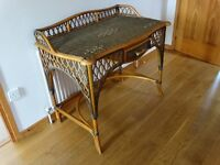 Unusual character wicker/cane dressing table/desk in good condition