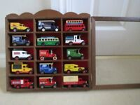 15 model toy cars in wooden display case