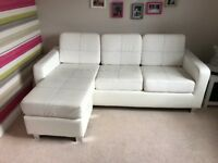 Contemporary chaise faux leather sofa