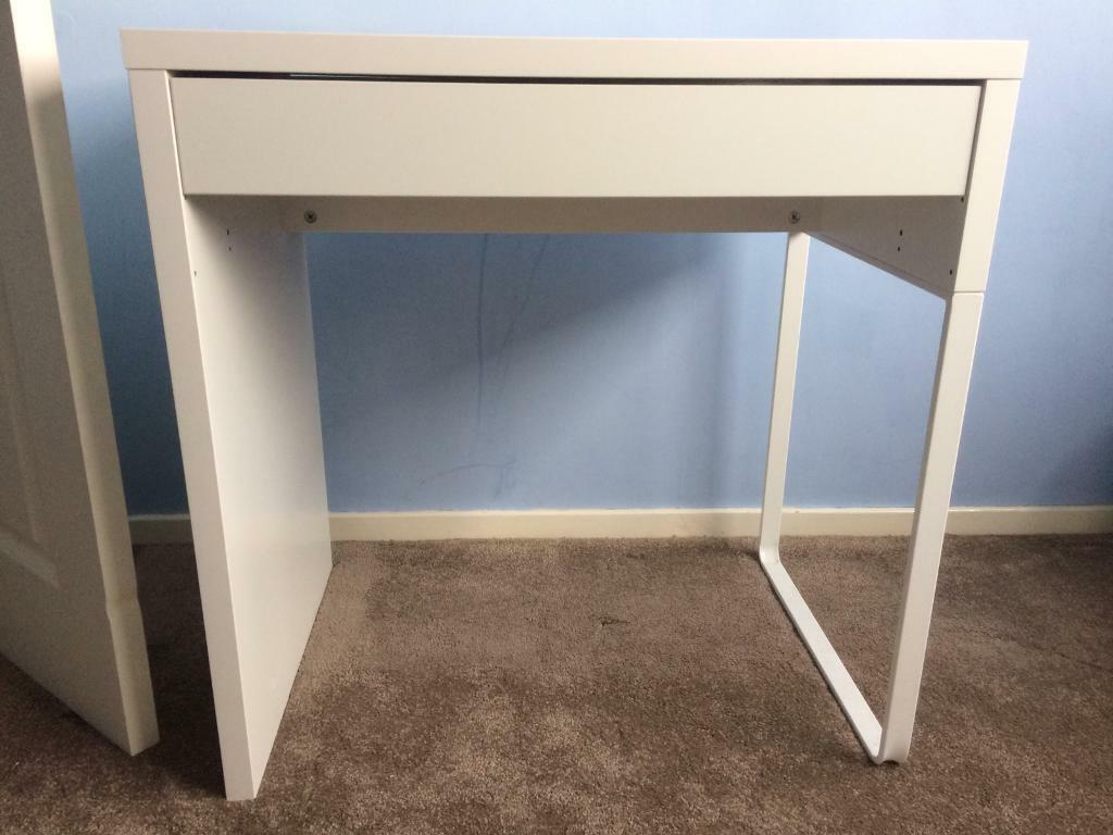 Ikea Micke Desk White 73x50cm With Deskchair In