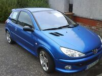 PEUGEOT 206, 180. G t i . 3 Door Hatchback Blue..
