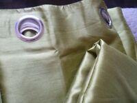Pair of Dunelm dark lime green faux silk curtains 228cm wide x 137cm drop
