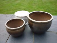3 Decorative Plant Pots in a range of sizes, good condition