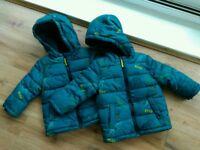 Baby Winter Jacket x2 9-12 months Matalan Dinosaur Never Worn