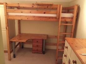 Flexa High/Mid/Low Sleeper Single Bed with desk, drawers, shelf