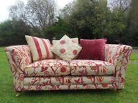 Cranberry Velvet 3 Seater Sofa With Cushions