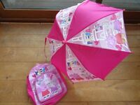 Peppa Pig Pink Rucksack and Umbrella - Very Good Condition