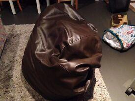 Leather brown puff sofa