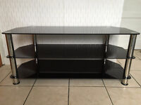 Chrome & black glass TV stand in excellent condition