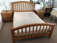 Solid wood Double Bed and matching pair of Bedside Tables with Memory Foam Mattress