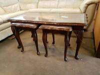Glass top table with 2 matching side tables