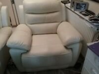 Cream leather electric wrecking chair