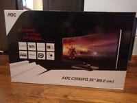 """AOC 35"""" Curved Ultra-Wide MVA 2560x1080 Monitor, 2 x Display Port, 2 x HDMI DVI VGA Speakers C3583FQ"""