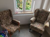 Two Parker knoll wingback chairs , ideal to recover £60 the pair.