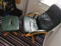 Leather Office Chair & Stool