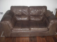 Three and two seater brown leather sofa's, very good condition