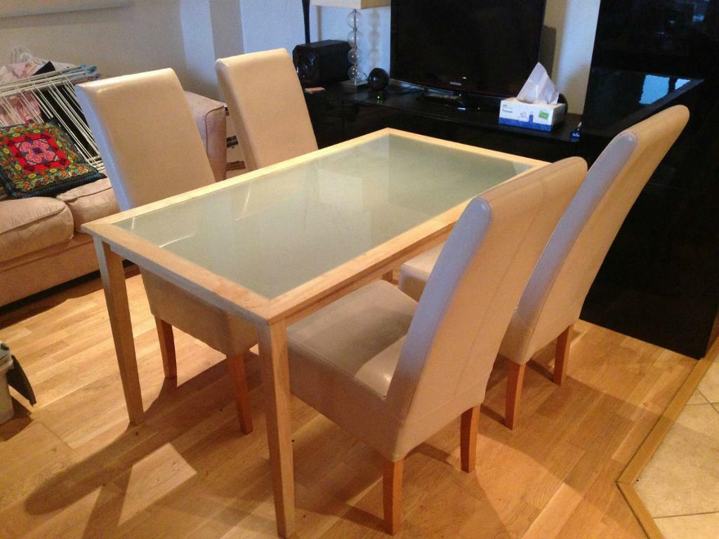 ikea birch wooden tinius dining frosted glass table with  faux  - ikea birch wooden tinius dining frosted glass table with  faux leatherchairs