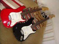 Fender Squier Stratocaster electric guitar Red Affinity or Black older £59 EACH