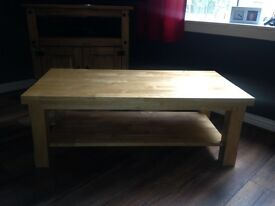 Solid wooden coffee table and side table