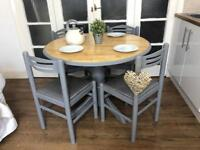 Pine table and 4 chairs free delivery Ldn Shabby Chic French Grey