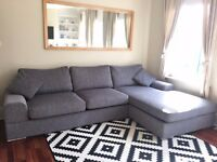 Grey fabric corner sofa needs new home! Collection only before Saturday 8th April.