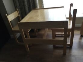 Wooden Toddler Desk & 2 Chairs