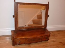 ANTIQUE DRESSING TABLE MIRROR.19TH CENTURY MAHOGANY WITH INLAY & DRAWERS