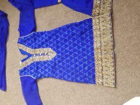 Blue and gold girls(sharara) dress