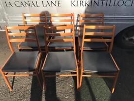 Set of 6 vintage teak framed dining chairs