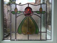 Vintage leaded glass window panel