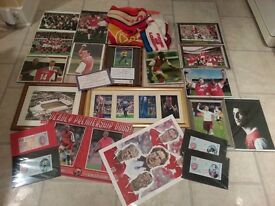 Arsenal Football Club Memorabilia (inc 12x Framed Pictures Henry, Bergkamp, Wright, Vieira etc)