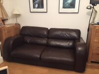 Chocolate brown leather comfortable sofas, John Lewis, 2&3 seater buy as a pair or separately