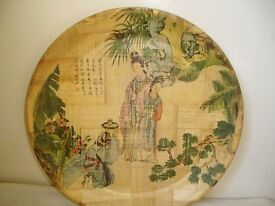 OLD ROUND JAPANESE BAMBOO TRAY,GARDEN SCENE