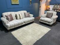 Cream pinstripe suite 3 seater and armchair