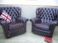Pair of Brown Leather Chesterfield Chairs.